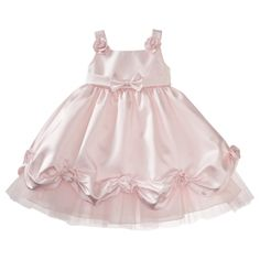 Baptism dress for Molly?  Very fancy, but only $9!  Rosenau™ Infant Toddler Girls Pull Up Satin Dress with Flowers - Pink.Opens in a new window