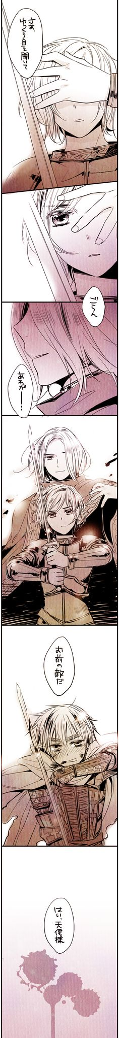 Francis, Jean d'Arc, and Arthur - I don't know enough Japanese to get all the details here, but it sure looks epic! - Art by Fuji
