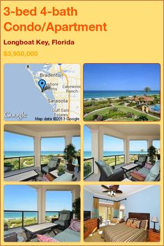 3-bed 4-bath Condo/Apartment in Longboat Key, Florida ►$3,950,000 #PropertyForSale #RealEstate #Florida http://florida-magic.com/properties/8640-condo-apartment-for-sale-in-longboat-key-florida-with-3-bedroom-4-bathroom