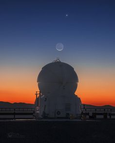 Morning view :) Moon and Venus are rising in Chilean Andes above one of the AT telescopes of ESO Paranal observatory in early April this year. Chrystal clear atmosphere allows to witness such a spectacular scene in its full glory. I hope you'll enjoy the view !