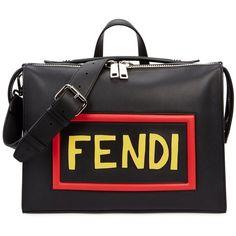 Fendi Mini Black Leather Messenger Bag ($2,935) ❤ liked on Polyvore featuring bags, messenger bags, leather zipper bag, leather mini messenger bag, mini zip bags, genuine leather messenger bag and leather bags