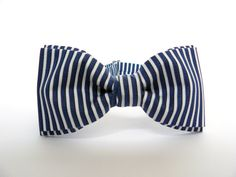 Men's Pre Tied Bow Tie by BartekDesign dark blue stripes nautical