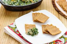 """""""He Won't Know It's Paleo"""" Cookbook Preview #2: Wheatless Thin Crackers and Spinach and Artichoke Dip. The perfect appetizer for a dinner party or guests! #hwkip #hwkipcookbook Paleo Recipes, Real Food Recipes, Snack Recipes, Paleo Food, Snacks, He Wont Know Its Paleo, Paleo Cookbook, Us Foods, Family Meals"""