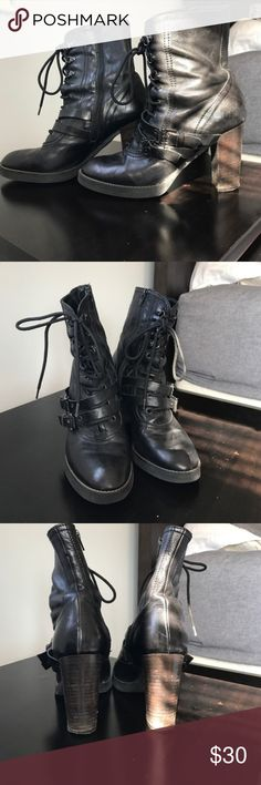 Jeannot geniune leather ankle boots sz 39 8 - 8.5 Absolutely soooo gorgeous! Look up the brand to see the quality for yourself. I wish these boots fit me. Jeannot brand, size EU 39 which is a US 8 or 8.5 (despite what posh chart would say). Black leather with side zippers for in/out and enough laces and buckles to satisfy. Wood heels are tall enough to be oh-so-sexy, but still walkable. Cooler than Madden and real leather to boot. If these fit me I'd be keeping 'em. A re-posh in excellent…