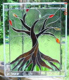 tree trunk pattern - stained glass: