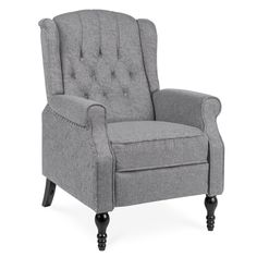 Shop online for Best Choice Products Tufted Upholstered Wingback Push Back Recliner Armchair w/ Padded Seat, Nailhead Trim - Charcoal Farmhouse Recliner Chairs, Farmhouse Living Room Furniture, Modern Home Furniture, Living Room Chairs, Home Living Room, Teal Chair, Diy Shutters, Transitional Home Decor, Home Theater Seating