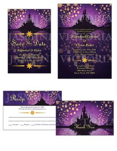 Tangled inspired Wedding Invitation Save the Date or RSVP