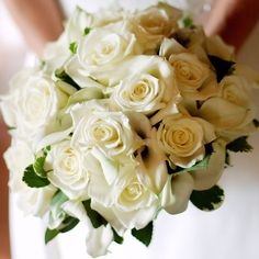Here, we paired white roses and calla lilies -- great winter wedding bouquet choices -- with touches of green: http://www.bhg.com/wedding/color/winter-wedding-color-ideas/?socsrc=bhgpin050914whiteandgreen&page=1