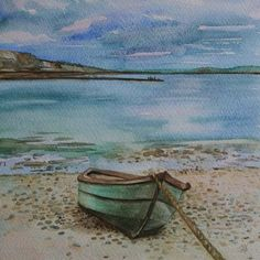 Pin 2. Boat on the beach original painting, by Wellydoggallery