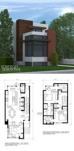 The Contemporary McIntyre-1376 is a 2-storey family home suited for narrow lot. The exterior uses a combination of brick, horizontal wood siding and acrylic stucco for an authentic modern look. This contemporary plan features: Main & Second floor: Open concept living space Large corner windows Unique corner fireplace 2 bedrooms, 2.5 baths Second floor stacking washer/dryer