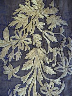 Turkish Embossed Silver Gilt Thread Embroidery on Blue Silk Velvet.
