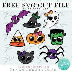Halloween Monsters SVG & Sticker Sheet – Gina C. Halloween Cups, Halloween Stickers, Cute Halloween, Halloween Vinyl, Halloween Silhouettes, Halloween Shirt, Cricut Vinyl, Cricut Cake, Silhouette Projects