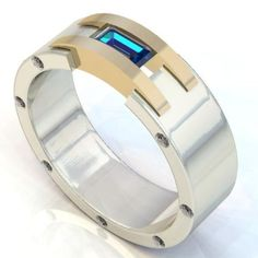 Titanium And Gold Ring With Center Stone