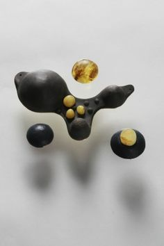 "LIS2 ADRIANA LISOWSKA + ANETA LIS-MARCINKIEWICZ-P ""Dedans"" collection, brooches - amber, rubber (2012)"