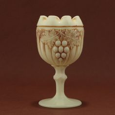 Northwood Custard Glass Grape Gothic Arches Footed by charmings, $52.00