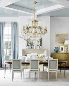 beautiful Suzanne Kasler dining room with furniture for Hickory chair
