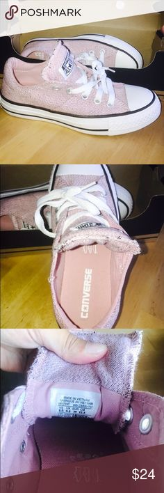 Light Pink Converse Like new, i bought them cause they are really cute but theyre kind of tight on me. Laces are clean! You can see they were rarely stepped on Converse Shoes Sneakers