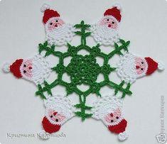 Image detail for -Santa Crochet Doily Centrinho Papai Noel 4 pinkrosecrochet. Thread Crochet, Filet Crochet, Crochet Crafts, Yarn Crafts, Crochet Projects, Knit Crochet, Crochet Christmas Ornaments, Holiday Crochet, Crochet Snowflakes