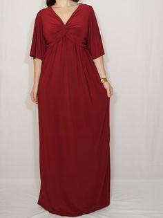 Burgundy dress Short sleeve dress Twist dress Maxi dress Women