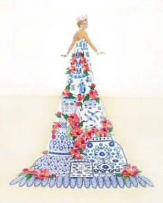 Anne-Marie Breedlove, Duchess of the Pearl of the Orient: This train's centerpiece is peonies and Ming Dynasty porcelain jars in sequins, bugle beads and crystals. The silk shantung bodice is embroidered in blue crystals and opalescent seed beads. Blue sequins and Austrian crystals create a floral motif on a tulle skirt. She is the daughter of Mr. and Mrs. Kirk Betten Feldmann.