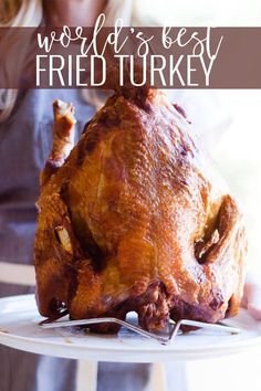 Life-altering, literally THE BEST fried turkey recipe you will ever eat. Step-by-step instructions, delcious rub and injection marinade recipes included! The Best Fried Turkey Recipe Best Roast Turkey Recipe, Best Roasted Turkey, Brine Recipe, Deep Fried Turkey Recipe, Fry Turkey Recipes, Deep Fried Turkey Brine, Recipe Marinade, Injecting Turkey Recipes, Stuffing Recipes