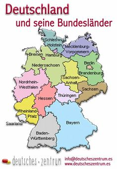 mapa de Alemania / Deutschland Landkartes/ gramática / Alemán / Grammatik / Deutsch / DAF