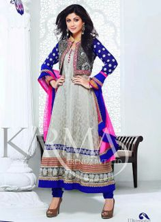 Shilpa Shetty Light Grey Embroidered Anarkali Suit