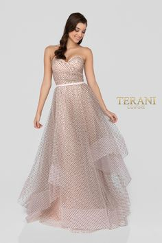 5f9db542201 Strapless sweetheart draped prom gown in flocked dot tulle. Features a  couture dramatic layered frothy