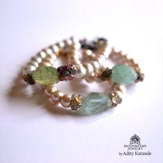 Moonbeams Jewelry by Adity Karande. Bracelet Aquamarine, Sapphires, Pearls, Silver, Topaz, Tourmaline, Labradorite, Gold.