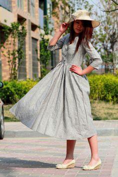 elegant plain grey linen long dresses by xiaolizi on Etsy, $79.00
