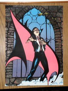 VINTAGE DRACULA VAMPIRE  - BLACK LIGHT FELT POSTER  1979 PRO ARTS INC - LARGE #Vintage