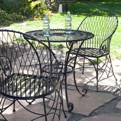 3 Piece Black Metal Patio Furniture Bistro Set With Round Table 2 Armchairs