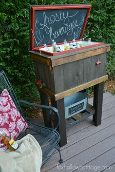 DIY Wood Cooler How-To Tutorial Deck Party #thehomedepot #3MPartner #ad