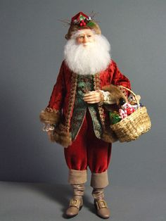 Art Dolls, Santa Dolls - The Dollsmith Father Christmas, Christmas Wishes, Vintage Christmas, Christmas Crafts, Primitive Santa, Primitive Christmas, Santa Doll, Santa Pictures, Polymer Clay Dolls