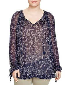 Lucky Brand Plus Floral Print Top
