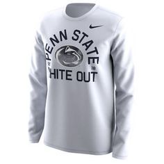 Penn State Nittany Lions Nike 2018 Student White Out Long Sleeve T-Shirt - White Long Sleeve Tee Shirts, T Shirt, Lions Team, Nittany Lion, Team Gear, White Nikes, Nike Men, Graphic Sweatshirt, Sweatshirts