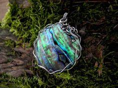 Abalone shell pendant  paua shell statement by NurrgulaJewellery