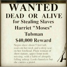 Harriet Tubman wanted poster. World History Lessons, History Quotes, History Education, History Projects, Education Humor, Art History, Harriet Tubman Quotes, Condoleezza Rice, Black History Month Activities