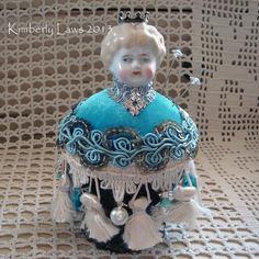NEW DESIGN  handmade pin cushion  antique blonde by ajoy2bheld, $30.00