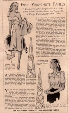Vintage Fashion Lingerie from parachute panels; make do and mend, wartime lingerie, fashion - cheap intimates, christmas lingerie, lace lingerie bra *ad - Hipster Vintage Fashion, 1940s Fashion, Fashion Black, Steampunk Fashion, Gothic Fashion, Mode Vintage, Vintage Ads, Make Do And Mend, How To Make