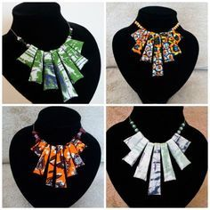 Hand-made vibrant african fabric necklace with subtle gold beaded accents. Reversible with a variation of the fabric on the flip side. Transparent cord finish that takes nothing away from the piece. African Necklace, African Jewelry, Textile Jewelry, Fabric Jewelry, Handmade Necklaces, Handmade Jewelry, Style Africain, African Accessories, Fabric Earrings