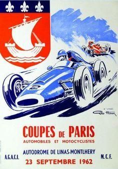 Coupes de Paris - autodrome de Linas-Montlhery - 1962 - illustration de Geo Ham -