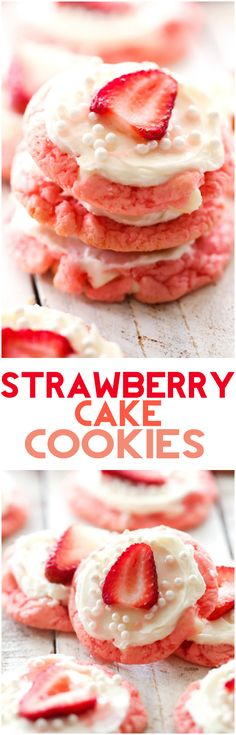 Strawberry Cake Cookies... These cookies are SUPER easy and soft. They have such a fun and delicious flavor!