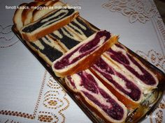 cherry, poppy seed rod and braided loaf Rum, French Toast, Cherry, Cooking Recipes, Bread, Baking, Breakfast, Ethnic Recipes, Poppy