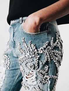 Sequined distressed jeans.