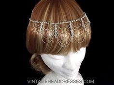 Vintage Drape Flapper Forehead Band - Great Gatsby Art Deco 1920's Headpiece - OOAK Bridal Headpiece - Wedding Circlet - Halo - Head Chain