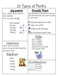 FREE - 25 Types of Poetry with examples to use while teaching!