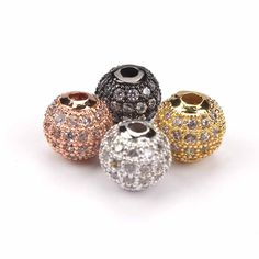 1pc DIY Jewelry Spacer Beads 8mm Black/Silver/Gold/Rose Gold Best Quality Micro Pave Black CZ Metal Round Beads #Affiliate