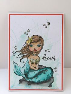 Hallo     Heute habe ich eine Karte für euch mit einer super tollen Meerjungfrau. Ich habe den Stempel entdeckt und musste den auf jeden Fa...
