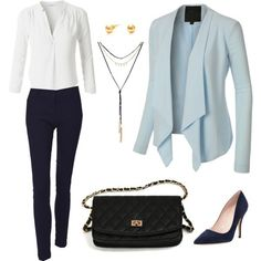Everyday Work Outfit by le3noclothing on Polyvore featuring polyvore, mode, style, LE3NO, Kate Spade, fashion and clothing
